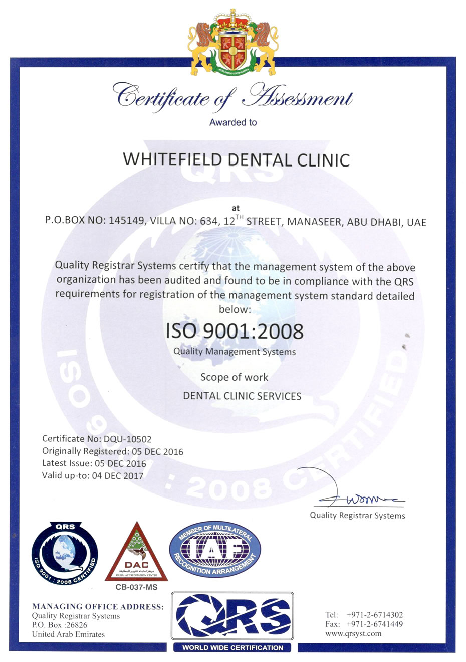 Welcome to whitefield dental clinic iso certification xflitez Gallery